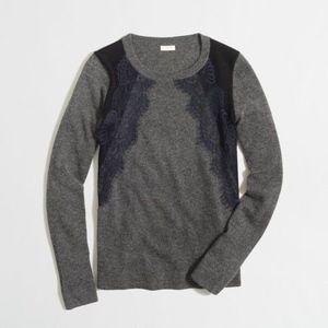 J Crew Lace and Merino Wool Sweater
